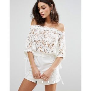 Foxiedox Clover All Over Lace Bell Sleeve Romper